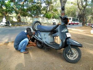 Scooter, flat tyre